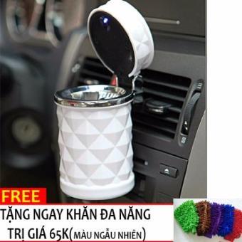 Hộp đựng tàn thuốc lá đèn LED trên xe ô tô+ Tặng gang tay lau xe đa năng H85