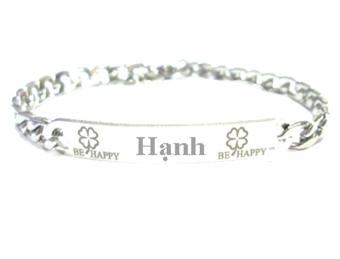 Lắc tay inox khắc tên Hạnh