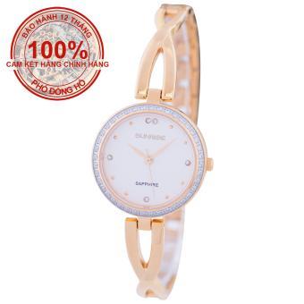 Đồng hồ nữ dây kim loại mặt kính sapphire chống xước Sunrise SL715DLK (Vàng mặt trắng)