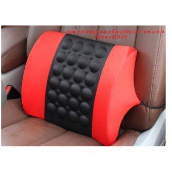 Đệm dựa lưng massage trên ghế xe ô tô VIPauto-ĐTL02- Đen phối đỏ