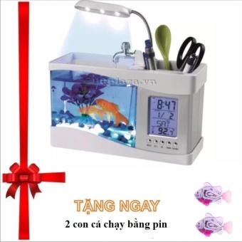 Bể cá mini để bàn kiêm đồng hồ tặng ngay 2 con cá chạy pin sinh động