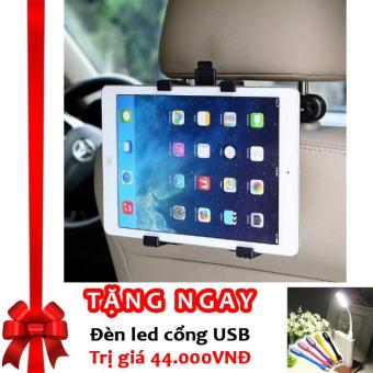Bộ giá đỡ Ipad, máy tính bảng sau ghế xe ô tô tiện lợi, chắc chắn IP01 F586 (Đen) + Tặng đèn LED cổng USB