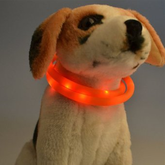 Waterproof Rechargeable LED Flashing Light Dog Loop Collar (Red) - intl