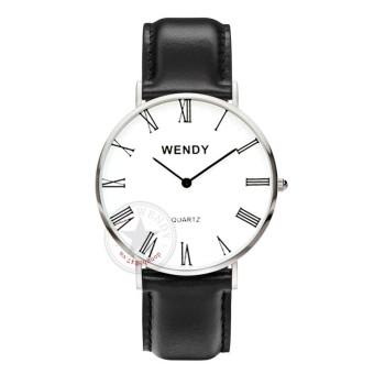 Đồng hồ nam dây da trơn lỗ vuông Wendy CH229-1 (Đen trắng)