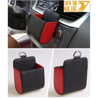 Túi da đựng đồ mini treo cửa gió ô tô, xe hơi (Đen đỏ)