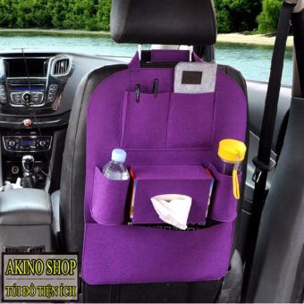 Túi bao đựng đồ 6 ngăn sau ghế ô tô AKINOSHOP kiêm bảo vệ ghế TT01 (Tím)