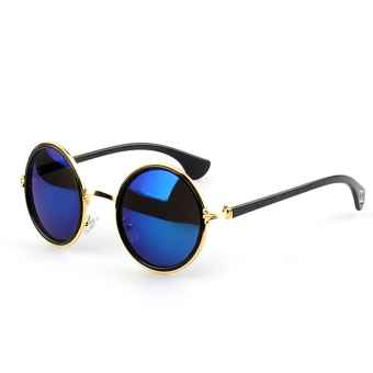 1 Pair Unisex Retro Round Circle Mirror Lens Metal Frame Sunglasses Shades Sun Glasses for Men Women Gold Frame + Blue Lens