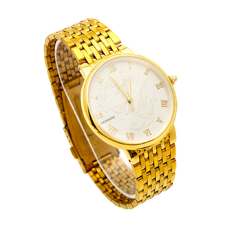 Đồng hồ nam BAISHUNS dây thép mạ vàng mặt rồng BA8811 (Mặt trắng)