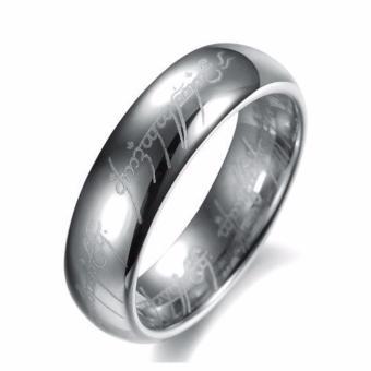 Nhẫn nam inox trắng khắc chữ cổ thời trang