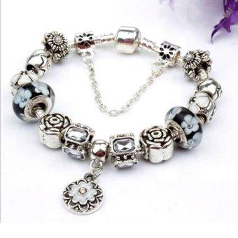 Vòng đeo tay mạ bạc trang sức hạt charms cao cấp Jewelry Queen Victoria Charm Panda DZ61 (Bạc)