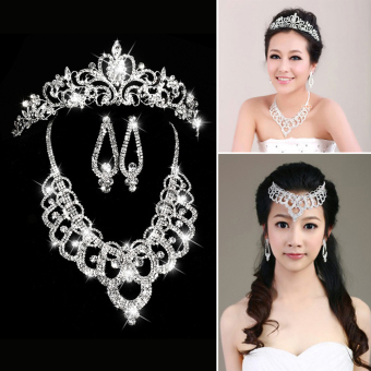 Elegant Luxurious Rhinestone Necklace + Earring + Crown Set - Intl