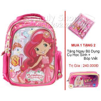 Mua 1 Tặng 2 (Balo học sinh trẻ em Strawberry siêu nhẹ cho bé gái (BLBD15H) )