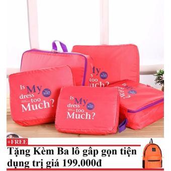 Bộ 5 túi Bag in bags tiện dụng (cam) + Tặng kèm balo du lịch gấp gọn