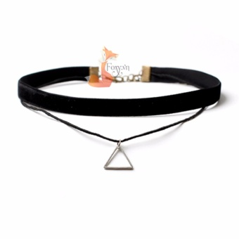 Vòng cổ Choker nữ vải ren, dây da đen thương hiệu FOXY - Choker HONG 06