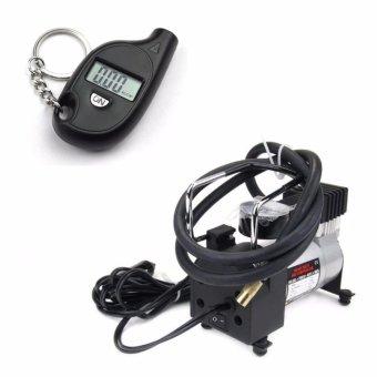 Bộ máy bơm lốp ô tô và đồng hồ đo áp suất hơi điện tử GDT-8368