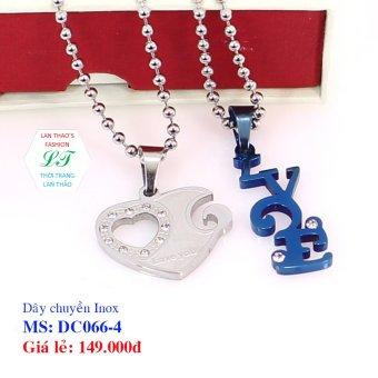 Dây chuyền Inox cặp trái tim chữ LOVE DC066-4 (Xanh dương)