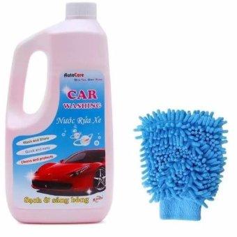 Nước rửa ô tô xe máy chuyên dụng Auto Care kèm găng tay chuyên dụng lau xe GT605