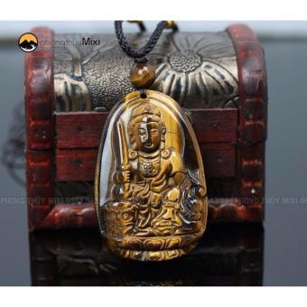 Dây chuyền Mặt Phật Văn Thù Bồ Tát Đá Mắt Hổ hộ mệnh tuổi Mão