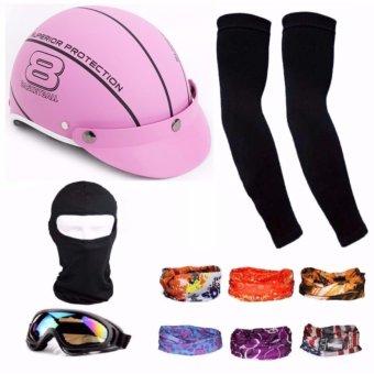 Bộ Nón Bảo Hiểm thời trang + 1 mũ ninja + 1 đôi bao tay chống nắng + 1 kính phượt + Tặng 2 khăn phượt đa năng màu ngẫu nhiên'
