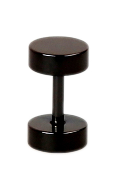 Fancyqube 1Pc Men Black Titanium Steel Circular Dumbbell Ear Stud Earring Diameter 6Mm Black