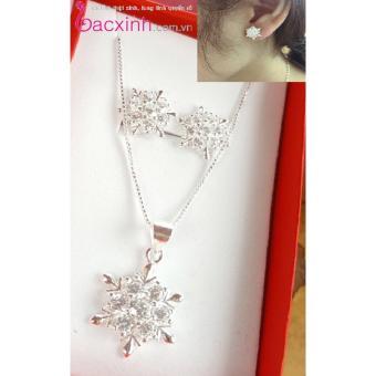Bộ trang sức nữ bạc Ý S925 Bạc Xinh - Bộ hoa tuyết đẹp B771-1396