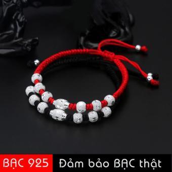 Vòng tay chỉ đỏ nhân duyên hạt cườm bạc 925 may mắn SB-S166(Đỏ & Đen)