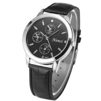 Đồng hồ nữ dây da cao cấp Nanci 2102 (Đen mặt đen)