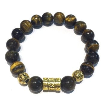 Vòng tay đá Mắt Hổ gắn charm bi mạ vàng Trang sức Minh Ngọc (Vàng nâu)