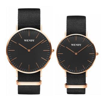 Đồng hồ đôi dây vải Wendy CH350 DOI - 1A9V (Đen)