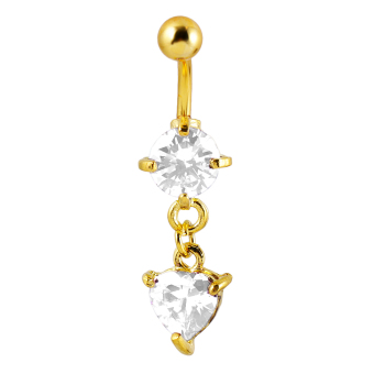 BolehDeals Belly Dangle Button Navel Ring Body Piercing Jewelry White Heart Crystal - intl