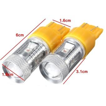 2X 30W 7443 7440 580 T20 Amber High Power LED Turn Signal Indicator Light Bulbs (Intl)