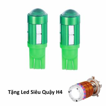 Bộ 2 led 10 tim cầu bi gắn xe máy (sáng xanh lá) + tặng Siêu Quậy H4