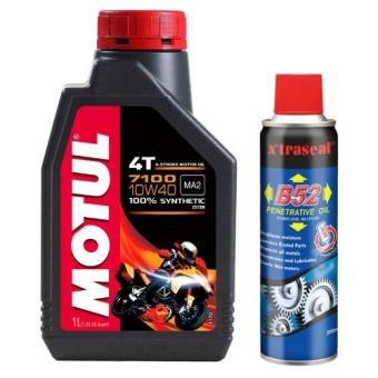 Bộ Bộ nhớt cho xe máy,mô tô phân khối lớn Motul 7100 4T 10W50 và chai xịt bôi trơn sên B52