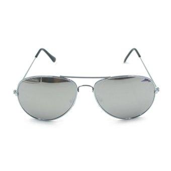 UV400 Men Hot Sale Metal Vintage Sunglasses Silver - Intl