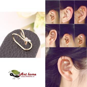 Bông tai nữ (Khuyên tai) đeo vành hình tai thỏ đính đá dễ thương mầu vàng (BT40)
