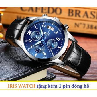 Đồng hồ nam dây da R-Ontheedge 6 kim quay (Mặt xanh sapphire)