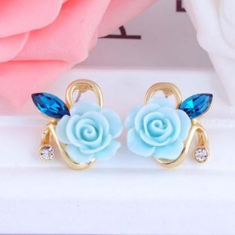 Bông tai nữ hoa hồng thời trang đính đá lâp lánh HKE-E878