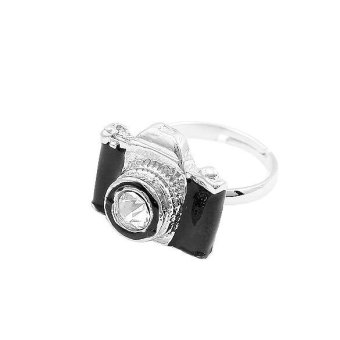 Fashion Exquisite Adjustable Rhinestone Camera Retro Rings Black - intl