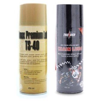 Bộ sản phẩm vệ sinh sên TS-40 450ml và chai bôi trơn chống sét bảo vệ sên Thunder Chain Lube 400ml