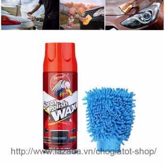 Chai xịt đánh bóng và phục hồi bề mặt sơn kèm găng tay lau chùi xe