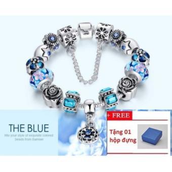 Vòng tay trang sức hạt 3D Panda Charms Jewelry Queen Victoria Charm DZ59 (Bạc) + Tặng 1 hộp đựng(Xanh Navy)