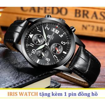 Đồng hồ nam dây da R-Ontheedge 6 kim quay (Mặt đen sapphire)