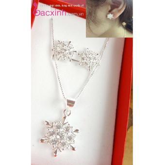 Bông tai nữ trang sức bạc Ý S925 Bạc Xinh - Hoa tuyết đẹp RYE140771