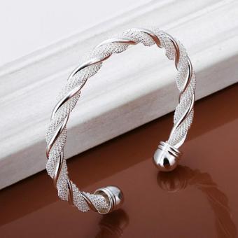 Vòng tay mạ bạc thời trang kiểu dáng vặn thừng LKNSPCB020(Bạc)