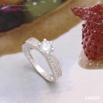 Nhẫn nữ trang sức bạc Ý S925 Bạc Xinh - Nhẫn ổ Kim cương đẹp S16023