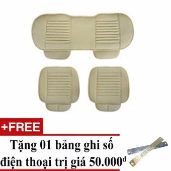 Bộ lót ghế da cho xe hơi mẫu 1 (Be) + Tặng 01 bảng ghi số điện thoại