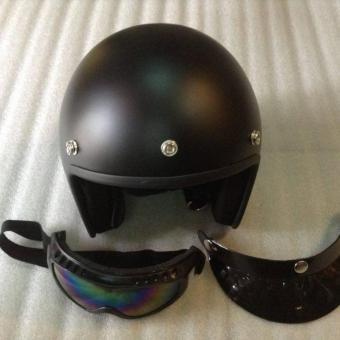 Mũ bảo hiểm 3/4 đầu tem CR7 đạt chuẩn CR tặng kính UV (Đen nhám)
