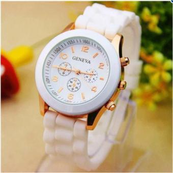 Đồng hồ Geneva dây cao su Thời trang Alowatch (Trắng)