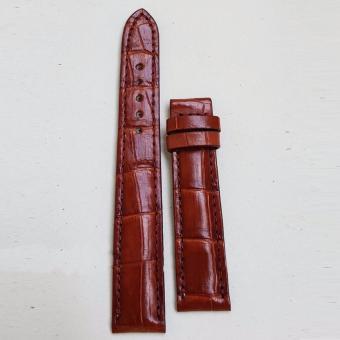 Dây đồng hồ da Cá sấu cao cấp 2 mặt (size 20mm) CS2M (Nâu đỏ)