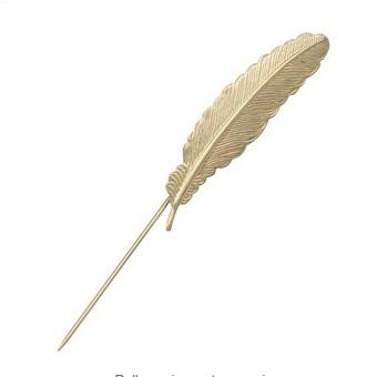 BolehDeals Feather Leaf Men's Suit Shirt Corsage Lapel Stick Pin Tie Hat Brooch Golden - Intl